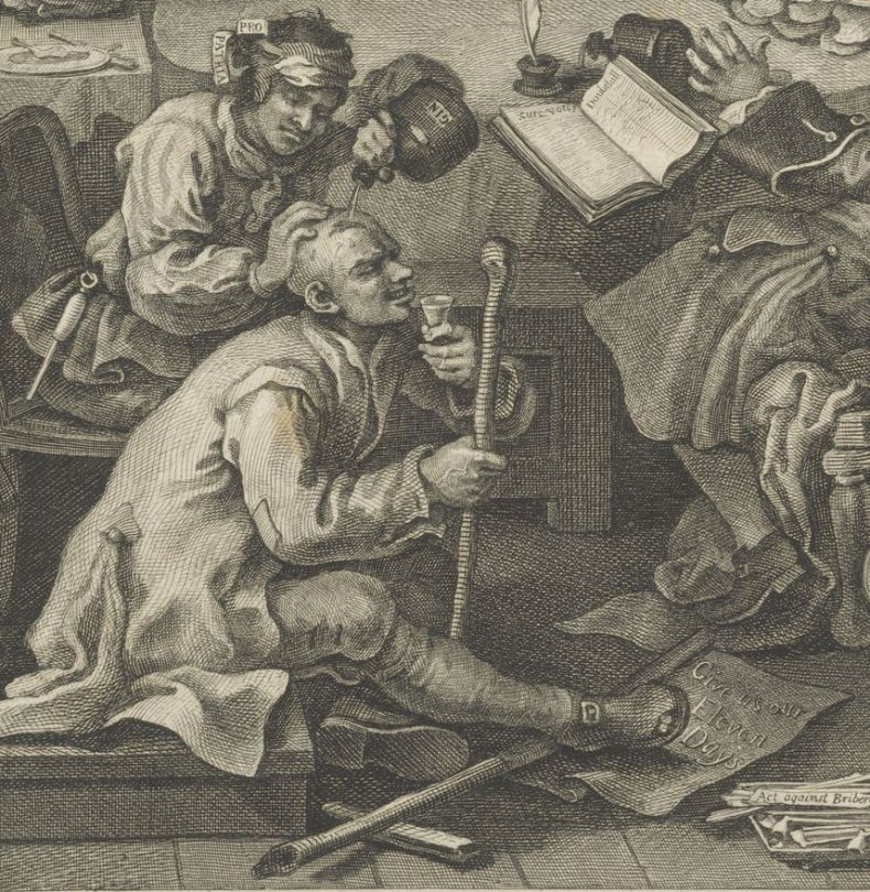 Detail from William Hogarth's 'An Election Entrtainment', showing a bully and a placard reading 'Give us our Eleven Days'