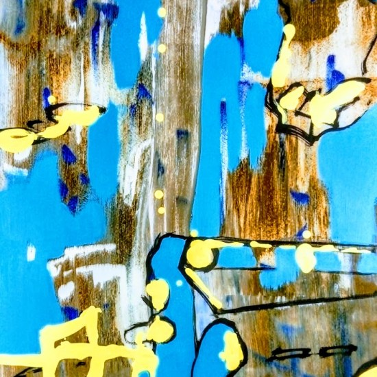 Slider: Brown, Blue, Yellow, Acrylic, Hahnemuhle paper on Dibond