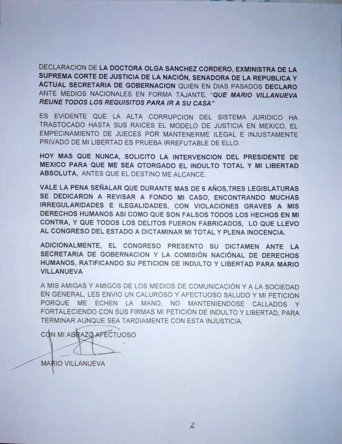 Carta de Mario Villanueva (parte 2)