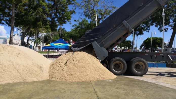 La arena fue traída desde Coatzacoalcos, Veracruz