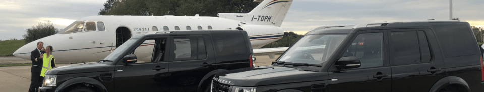 Two Discoveries and private jet at durham airport