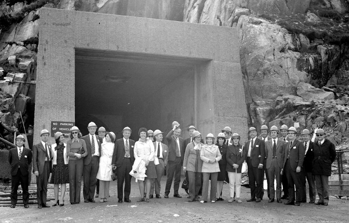 Visitors from CIGRE at Turlough Hill tunnel entrance