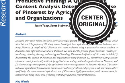 Productive Pinning: A Quantitative Content Analysis Determining the Use of Pinterest by Agricultural Businesses and Organizations