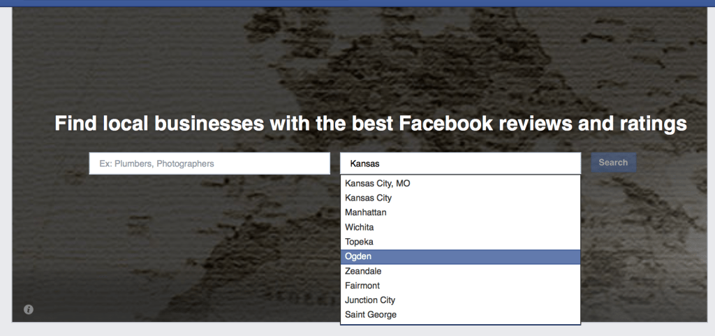 Facebook lets you search for a specific location. Make sure your town and zip code are included on your Facebook page.