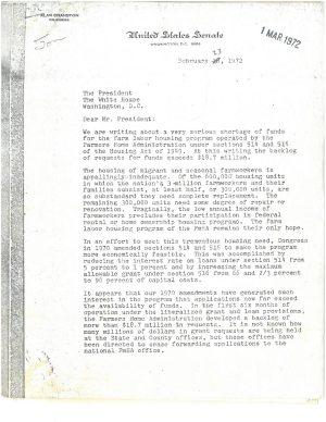 Letter to Nixon From Senators on Farmworker Housing Shortage