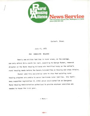 Rural Housing Alliance News Service: George Rucker Testimony