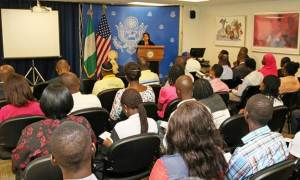 Deputy Chief of Mission, U.S. Embassy Abuja, Maria Brewer, delivering remarks during a program to mark the 2016 World Wildlife Day program in Lagos… on Thursday. Photo: U.S. Consulate General Lagos.