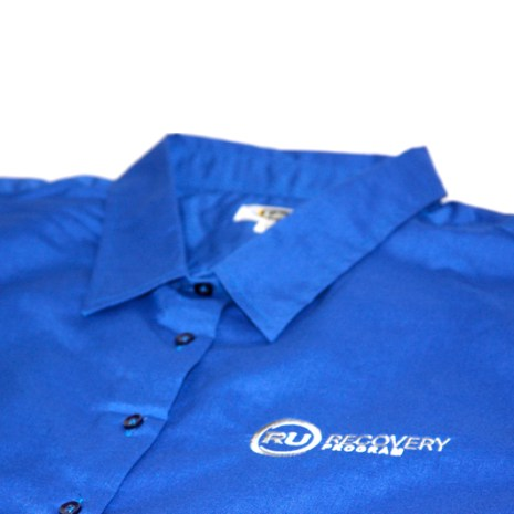 3/4 Sleeve Ladies Dress Shirt (Royal Blue)