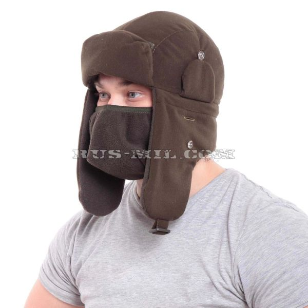 Camouflage winter hat membrane in Olive dark to buy at a low price