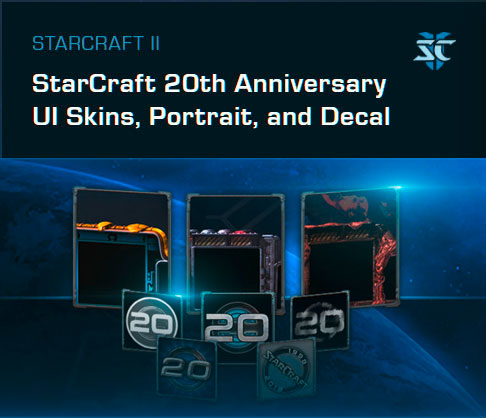 Starcraft 2 20th Anniversary UI-Skins, Portraits und Decals
