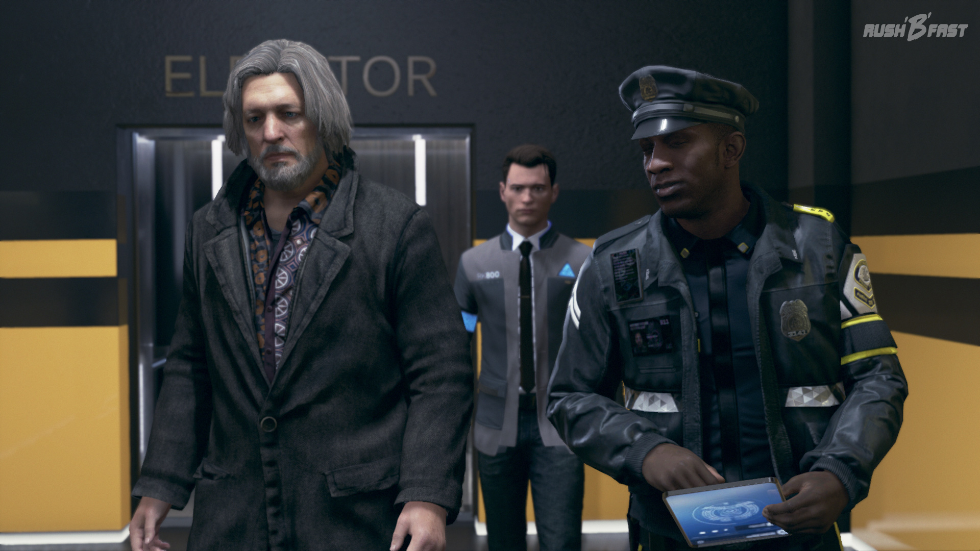 "Detroit: Become Human - Connor und der ""Dude""."