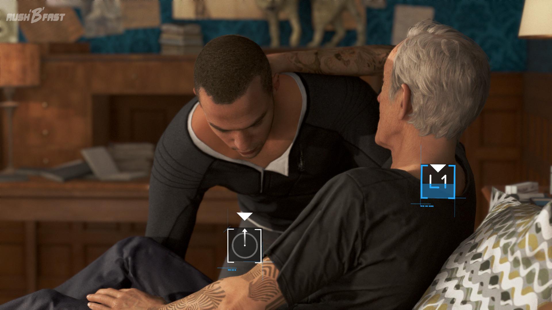 Detroit: Become Human - Markus hebt Carl in seinen Rollstuhl.