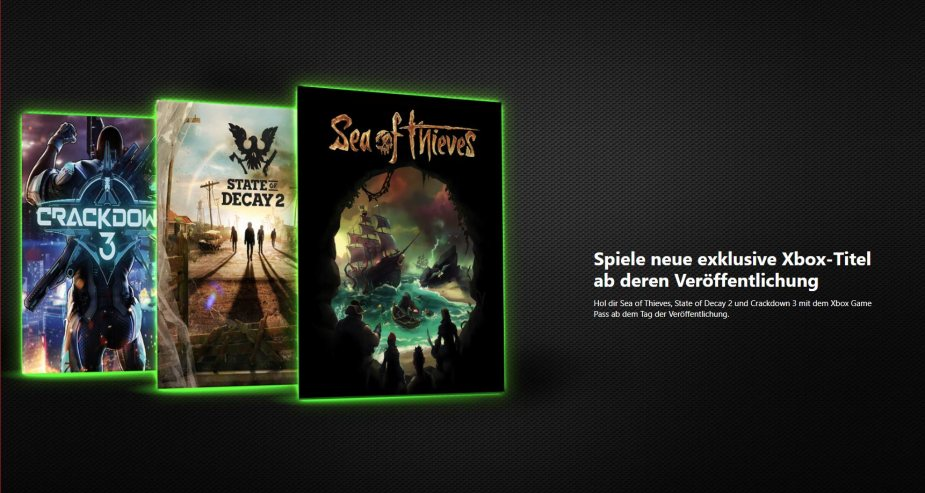 Quelle: Xbox Game Pass - Crackdown 3, State of Decay 2, Sea of Thieves