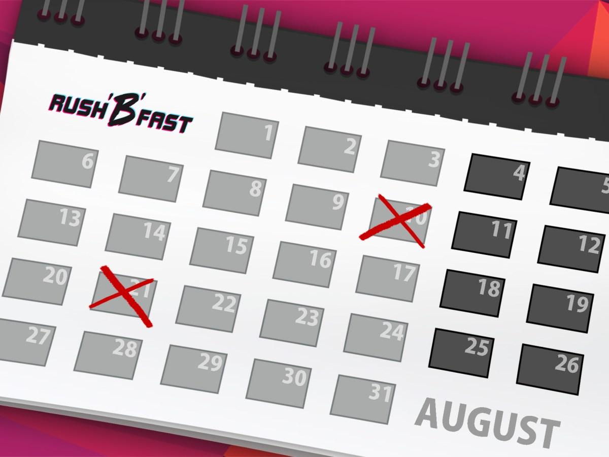 rush'B'fast Release Kalender August