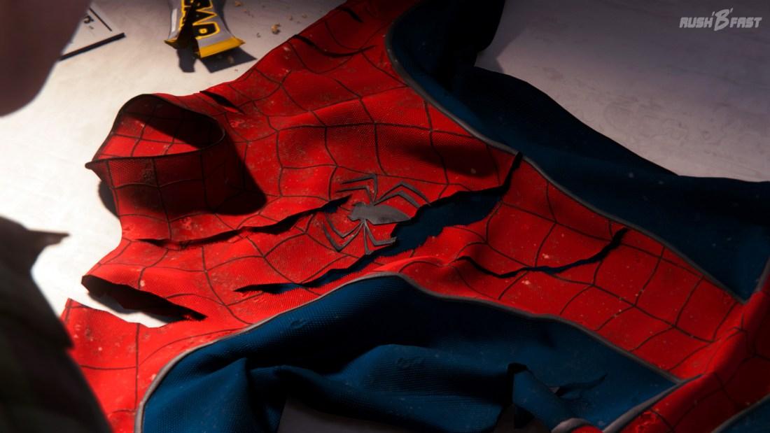 Marvel's Spider-Man - beschädigter Superhelden Anzug.