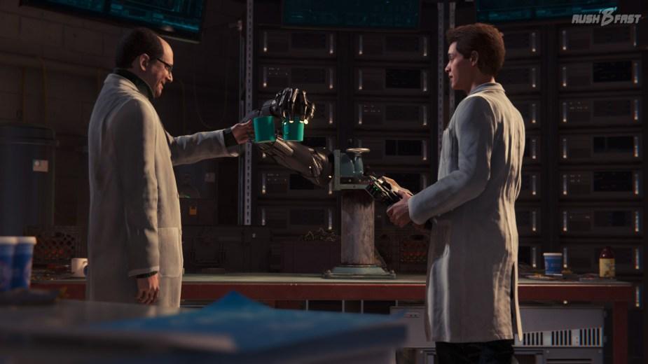 Marvel's Spider-Man - Dr. Otto Octavius und Peter Parker feiern den Erfolg einer funktionierenden Prothese.