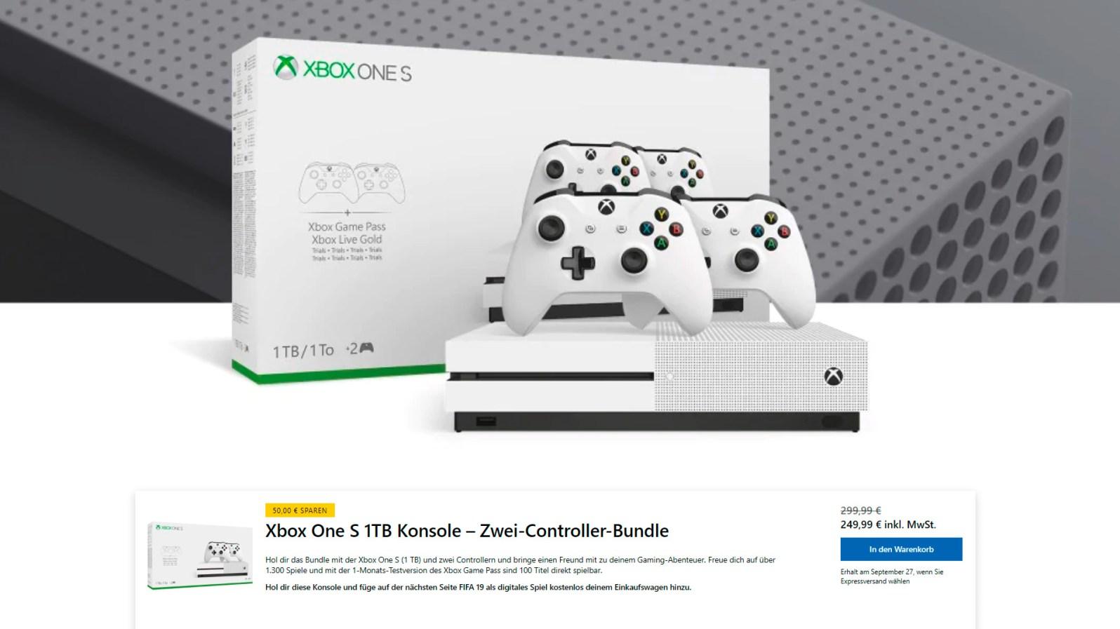 Xbox One S 1TB Konsole - Zwei-Controller-Bundle