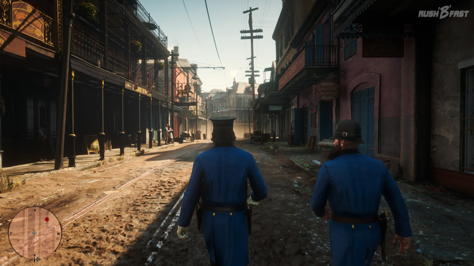 Red Dead Redemption 2: Getarnt als örtlicher Polizist von Saint Denis bewegen wir uns unauffällig durch die Straßen.