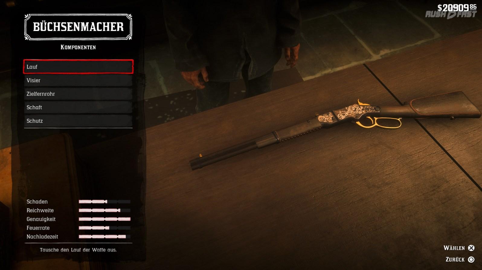 Red Dead Redemption 2: Waffenupgrades und Waffenpflege können wir beim Büchsenmacher erwerben.