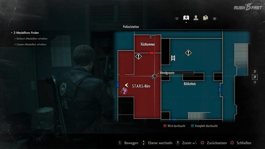 Resident Evil 2 - Die neue Karte im Remake zeigt uns sogar, wo wir noch Ausrüstung und Heilung vergessen haben.