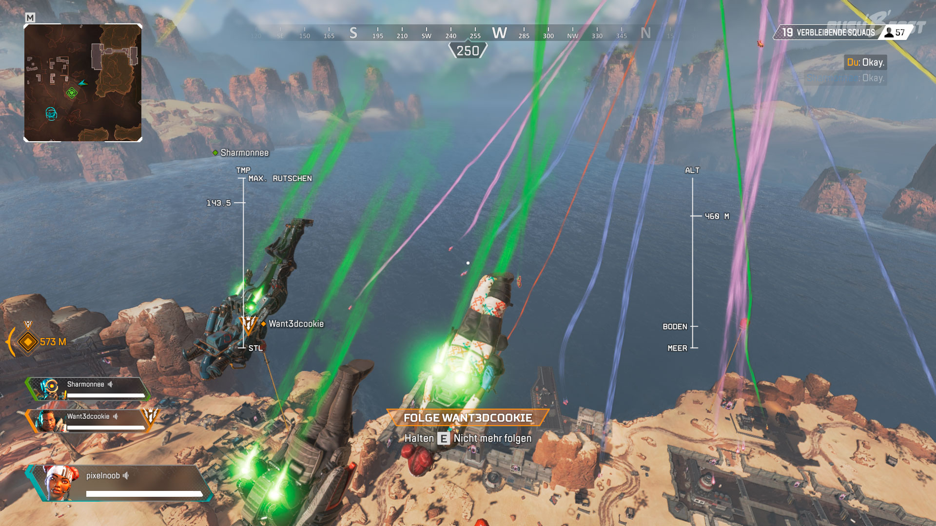 Formationsflug: Dank des farbigen Rauchs wissen wir wo die gegnerischen Teams landen werden.