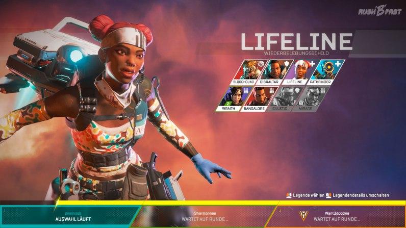 Geschickt Zeit überbrücken! Während der Ladezeit für das kommende Match wählt jedes Teammitglied einen Charakter aus. Sobald das geschehen ist, beginnt sofort das Match.