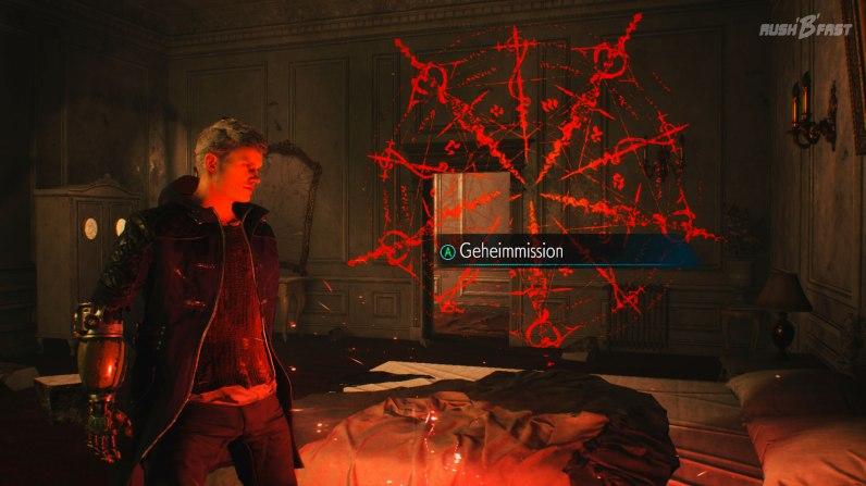 Devil May Cry 5: Vervollständigen wir ein perspektivisches Wandbild, so schalten wir eine Geheimmission frei in der Extra-Punkte und Items gesammelt werden.