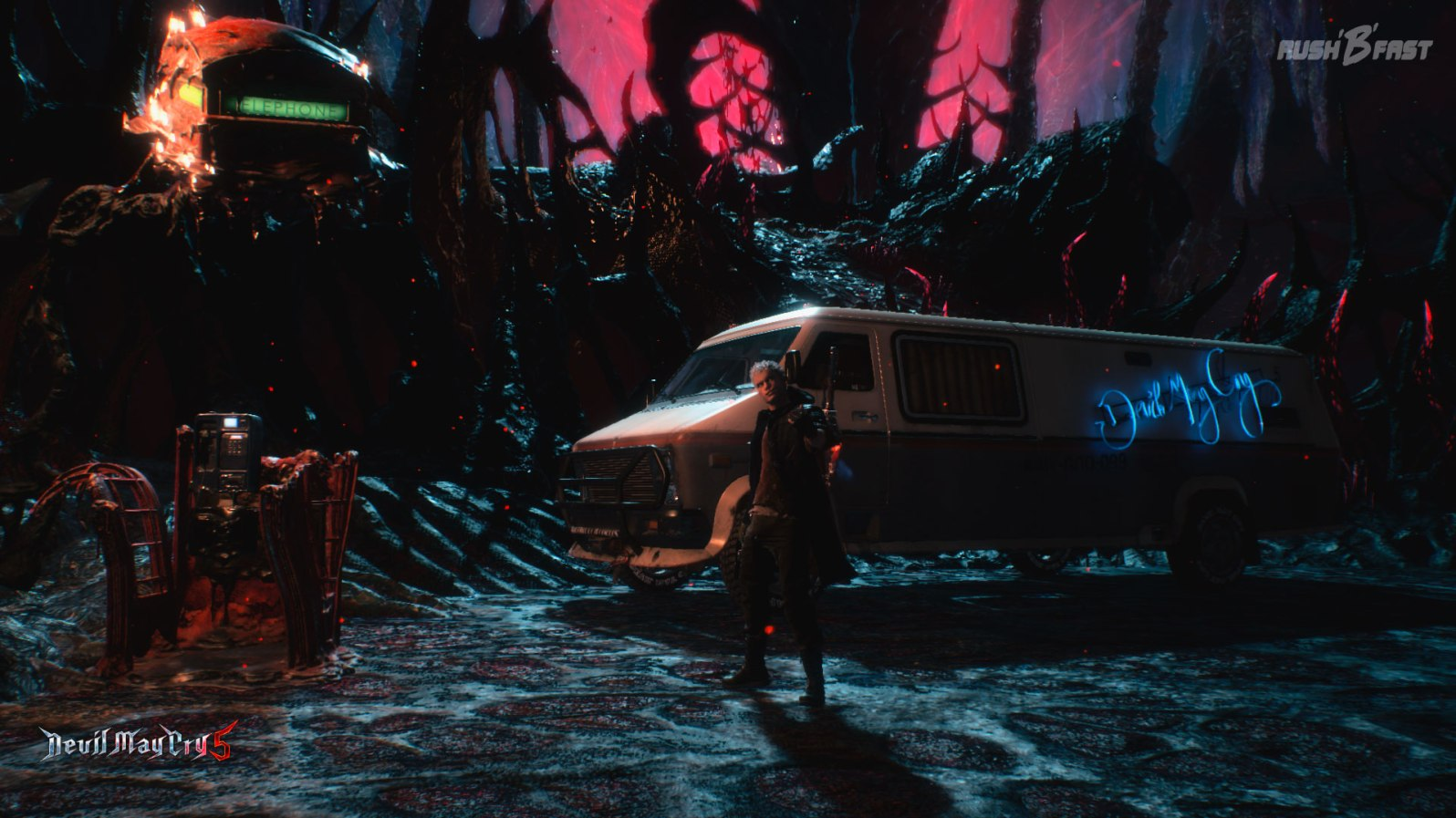 Devil May Cry 5: Anruf genügt! Nico düst mit dem Van (Everest 670i) herbei! Jetzt wird erst mal das Waffenarsenal aufgestockt und gespeichert.