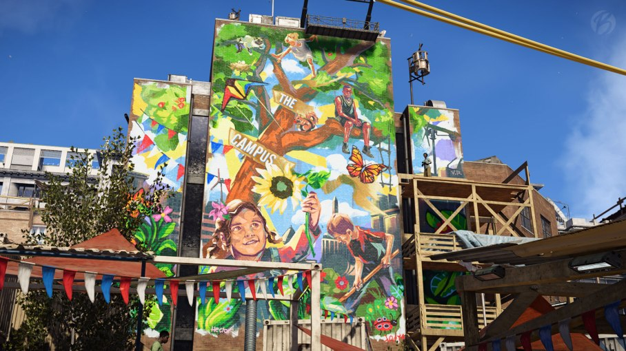 Tom Clancys The Division 2 - Riesiges Mural in der Campus-Siedlung.