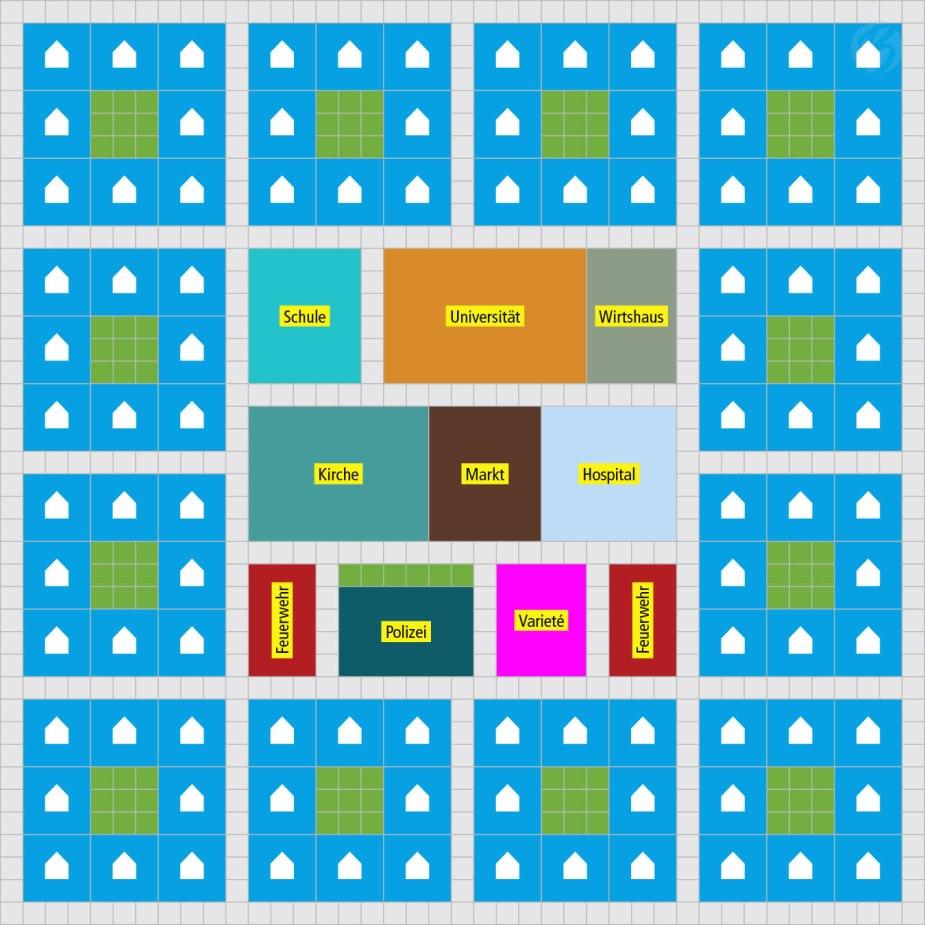 """Anno 1800 - Das A und O des Schönbauens ist das Konzept. Hierzu habe ich Euch ein Beispiel gebastelt, welches einen optimierten Aufbau eines Stadt-Layouts in der """"Alten Welt"""" zeigt. Die Grünflächen zwischen den Wohnhäusern verringern unter anderem die Brandgefahr durch zu hohe Baudichte."""