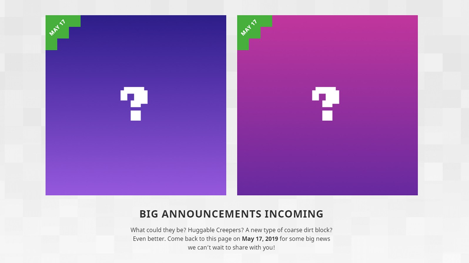 Quelle: minecraft.net - Minecraft Ankündigung 17. Mai 2019