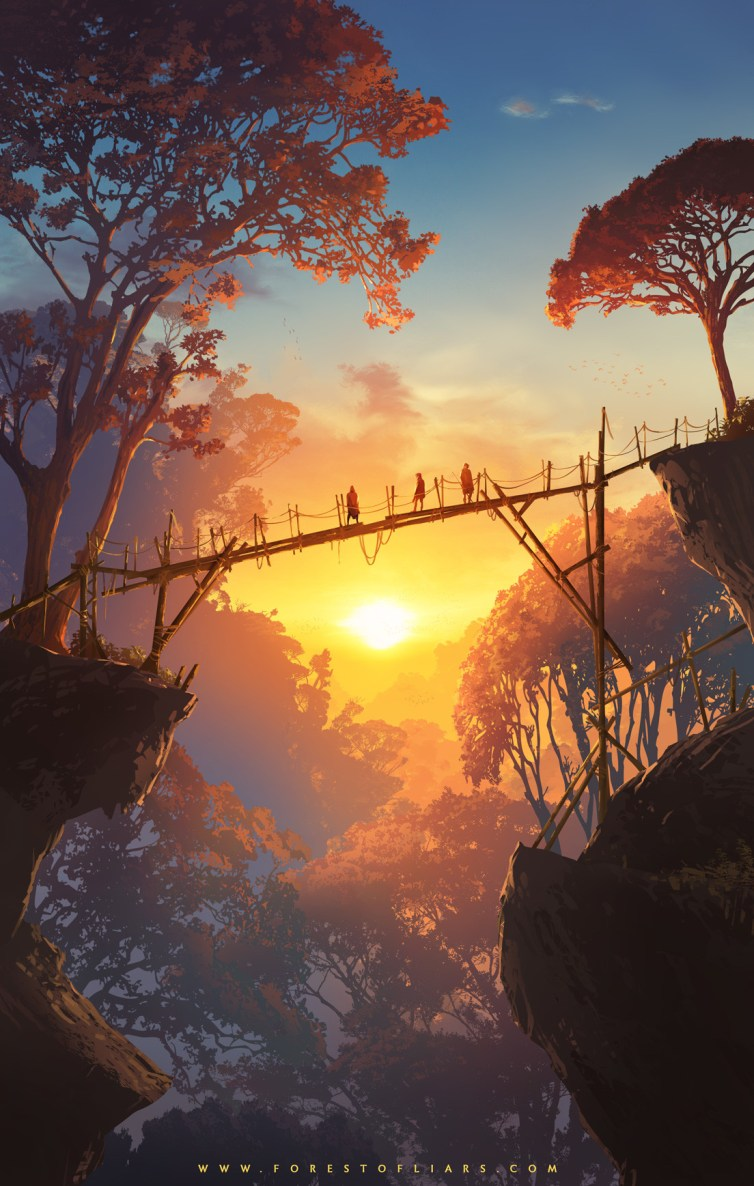 Quelle: tohad.artstation.com - Sylvain Sarrailh - Forest of Liars: Sunset on the wood bridge