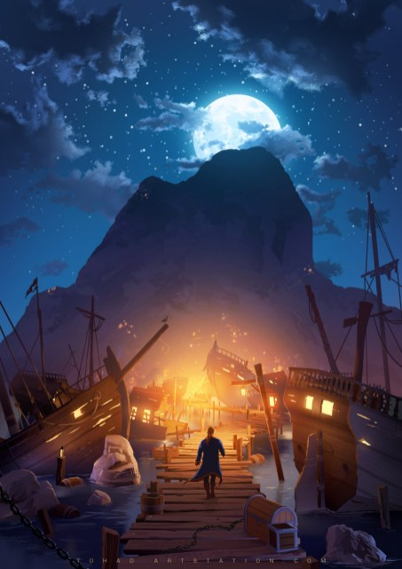 Quelle: tohad.artstation.com - Sylvain Sarrailh - Monkey Island Book Cover