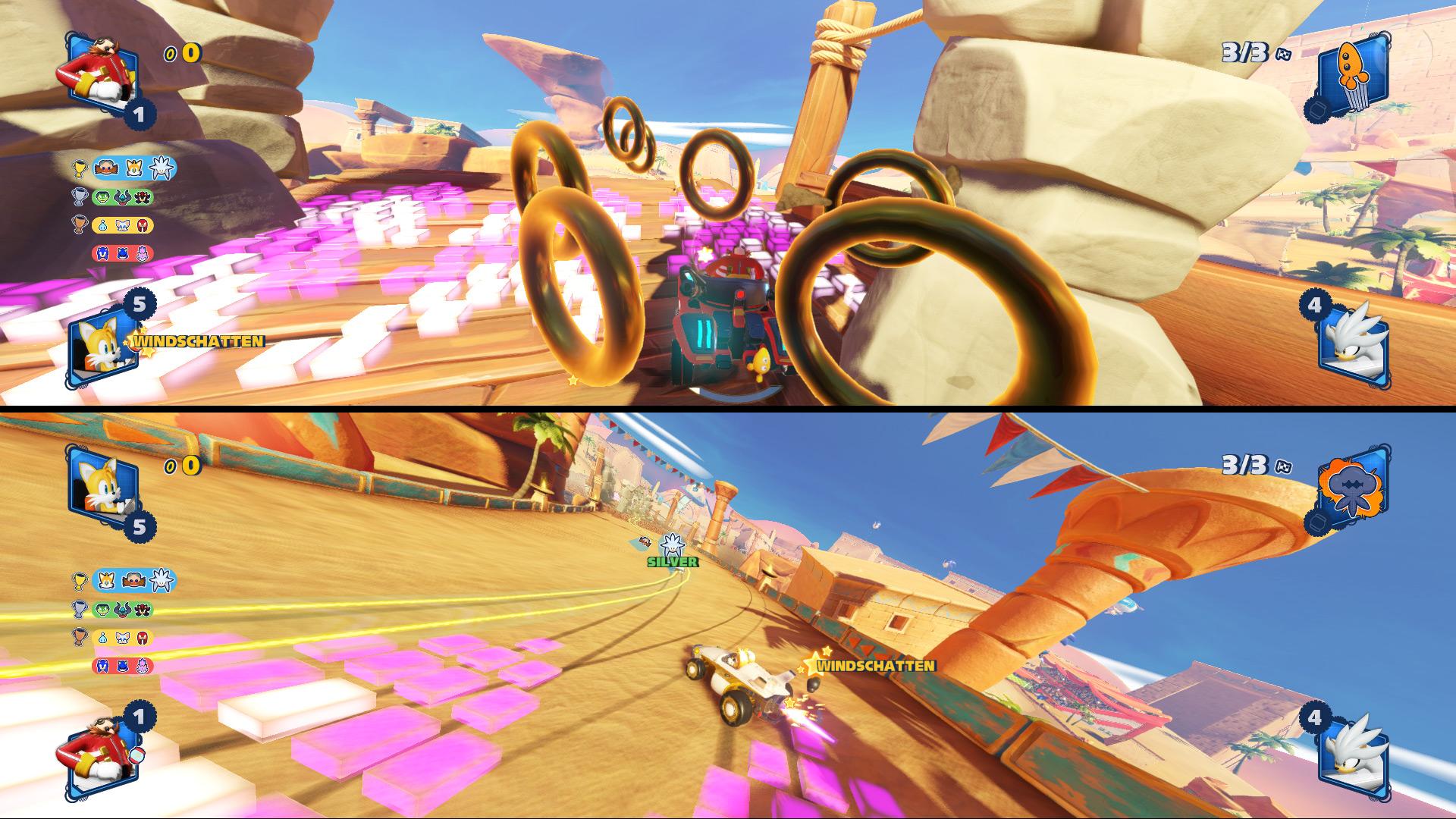 Oben: Vermeide Unfälle, um möglichst viele Extrapunkte durch aufgesammelte Ringe zu bekommen. Unten: Nutze den Windschatten deiner Teamkollegen (gelbe Spur) dann gibt es einen extra Boost.