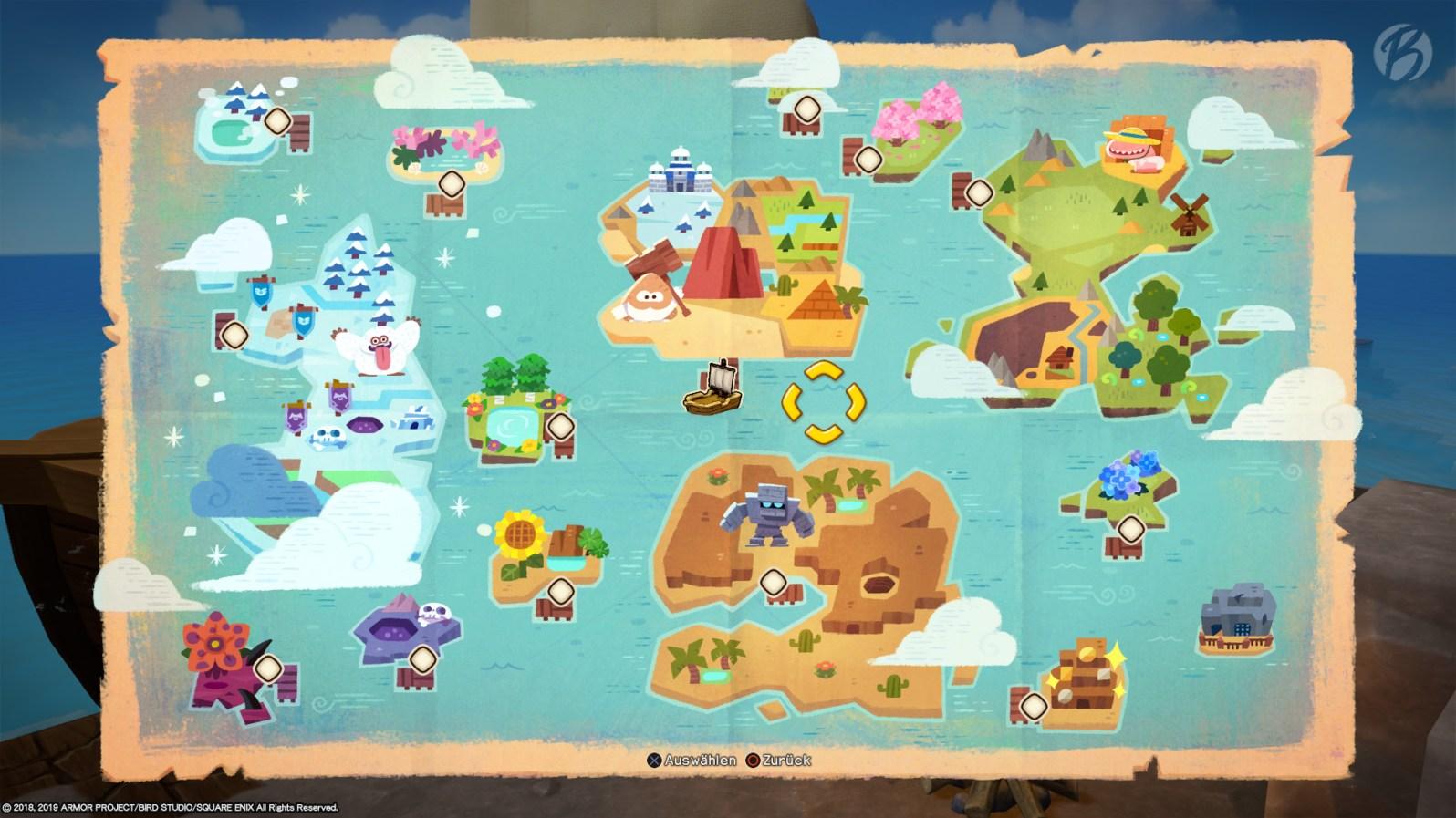 Die umfangreiche Weltkarte von Dragon Quest Builders 2 lässt erahnen, wie viel Spielzeit nötig ist, um jede Ecke zu erkunden.
