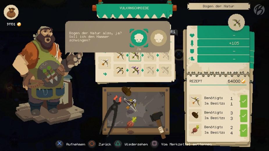 Moonlighter - Der Schmied in Rynoka versorgt uns mit der nötigen Ausrüstung, wenn wir ihm die passenden Items und Moneten mitbringen.