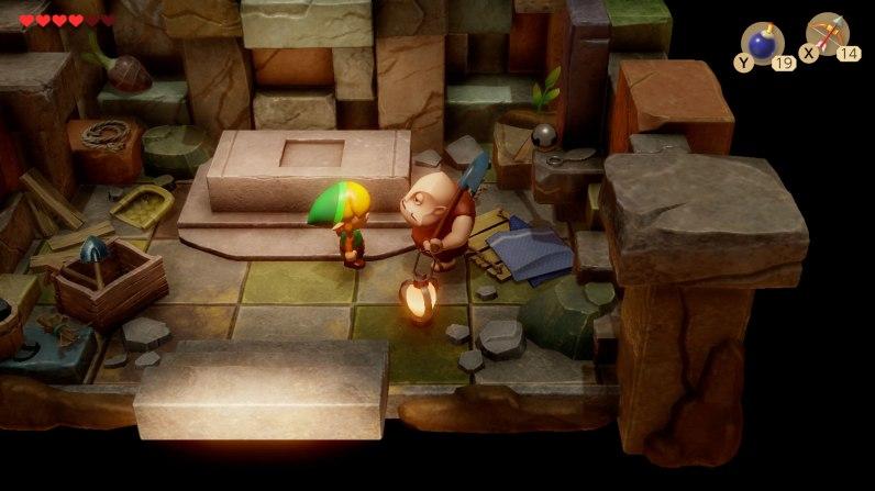 "Cameo-Auftritt: Bei Friedhofswärter Dampé (Boris) aus dem Zelda Titel ""Ocarina of Time"" können wir unsere eigenen Dungeons erstellen."