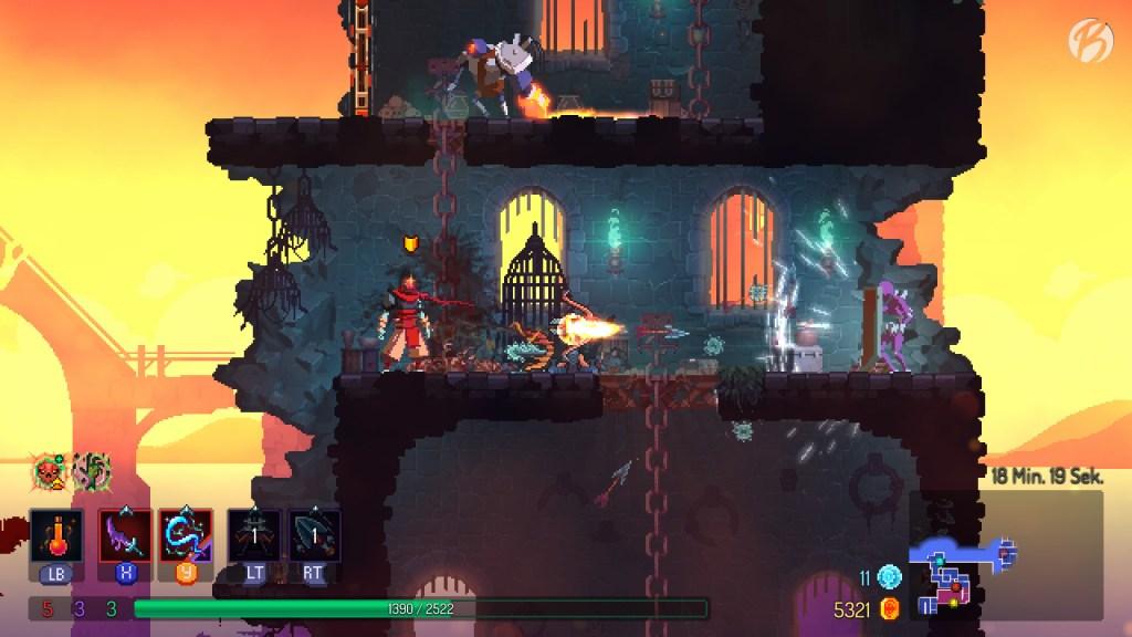 Dead Cells - Mit den starken Geschütztürmen lassen sich die zähen Gegner gut aus der Distanz besiegen.
