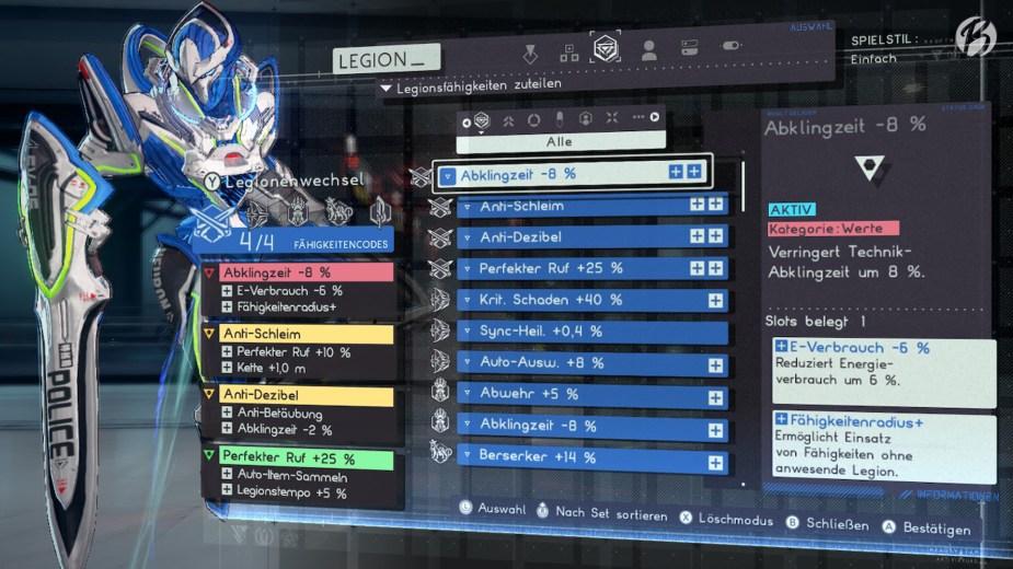 Jeder der fünf Legion besitzt einen eigenen Skilltree. Dort lassen sich nicht nur neue Fertigkeiten freischalten, auch sogenannte Fähigkeitencodes bringen zum Beispiel eine zusätzliche Kettenlänge oder ein erhörtes Tempo für unseren Legion.