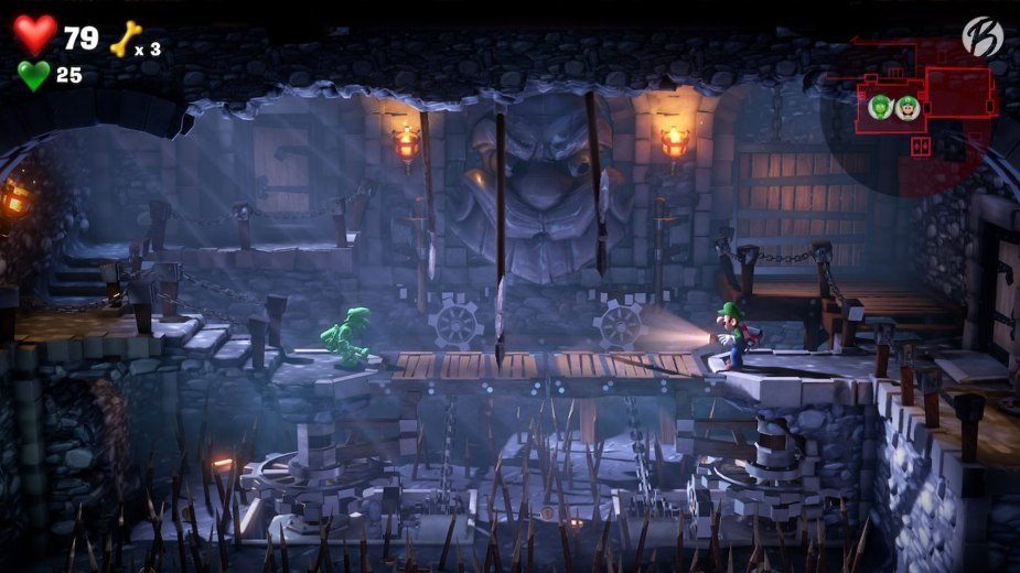 Luigi's Mansion 3 - Dieser mit Fallen gespickte Raum ist für Fluigi ein Klacks, doch Luigi muss gut aufpassen wo er hin tritt.