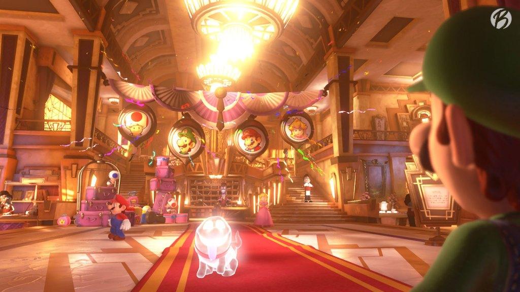 Luigi's Mansion 3 - Hier ist die Welt noch in Ordnung, das Hotel wirkt prunkvoll und gepflegt.