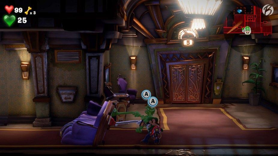 Luigi's Mansion 3 - Gemeinsam sind wir stärker, denn dieses Sofa lässt sich nur mit doppelter Pümpelkraft aus dem Weg räumen.
