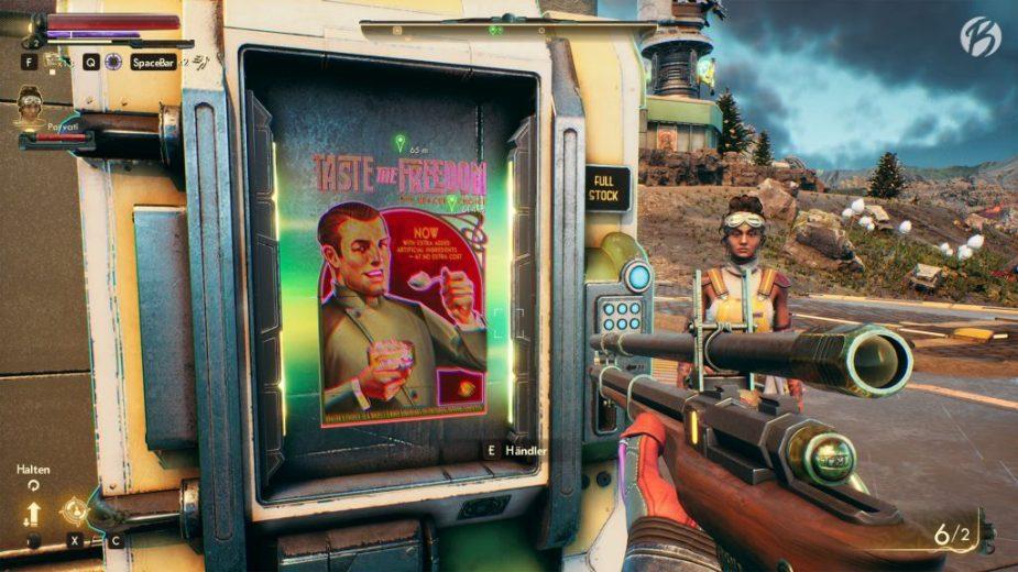 The Outer Worlds - Wie in Borderlands handeln wir oftmals unsere Waren mit gut gestalteten Automaten.