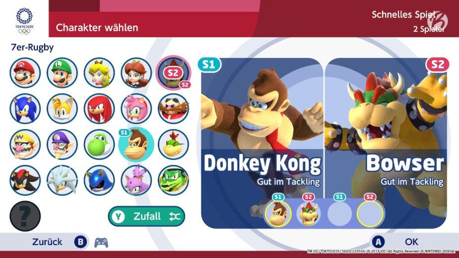 Mario & Sonic bei den Olympischen Spielen: Tokyo 2020 - Charakterauswahl 7er-Rugby