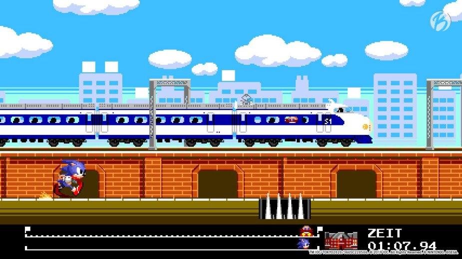 Mario & Sonic bei den Olympischen Spielen: Tokyo 2020 - Wettrennen mit Sonic und dem Shinkansen.