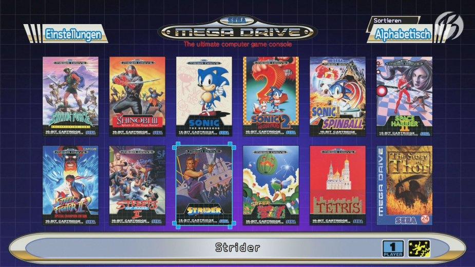 Die Gestaltung des Menüs der Mega Drive Mini Konsole ist an das Design der alten Spiele-Verpackungen angelehnt.
