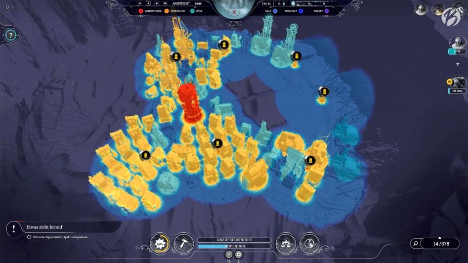 Frostpunk - Die Wärmeansicht ist eines der nützlichsten Tools im Spiel. Hier können wir genau erkennen wie kalt einzelne Bereiche sind.