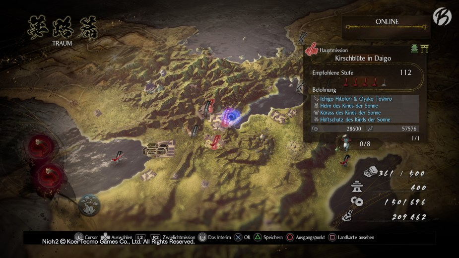 Nioh 2 - Über die Landkarte lassen sich neben den normalen Missionen auch die schweren Zwielichtmissionen auswählen.