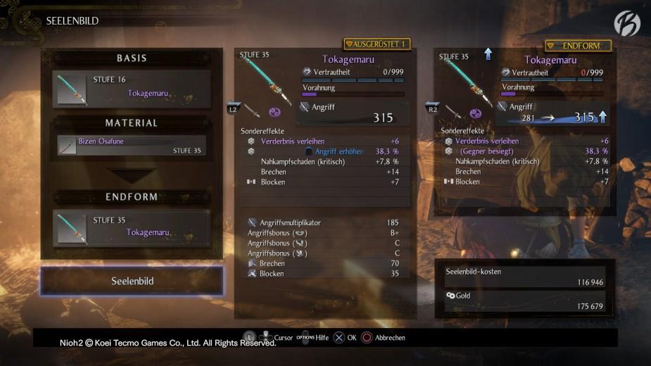 Nioh 2 - Crafting: Mit gleichwertigen Waffengattungen können favorisierte Waffen auf die Spielerstufe übertragen werden.