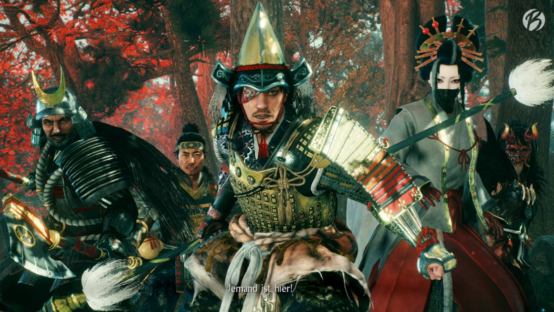 Nioh 2 - Gruppenfoto: Shibata Katsuie, Tokichiro, Maeda Toshiie, Protagonist und Mumyo.